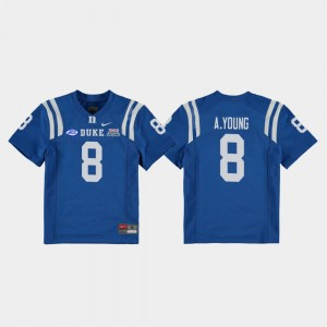 #8 Aaron Young Duke Blue Devils Youth(Kids) College Football Game 2018 Independence Bowl Jersey - Royal