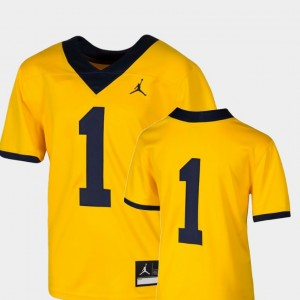 #1 Michigan Wolverines Youth(Kids) College Football Team Replica Jersey - Maize