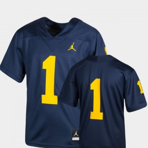 #1 Michigan Wolverines Youth Team Replica College Football Jersey - Navy