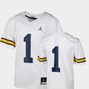 #1 Michigan Wolverines College Football Team Replica For Kids Jersey - White