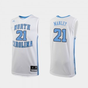 #21 Sterling Manley North Carolina Tar Heels Youth(Kids) Replica College Basketball Jersey - White