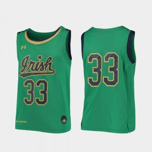 #33 Notre Dame Fighting Irish College Basketball Replica For Kids Jersey - Kelly Green