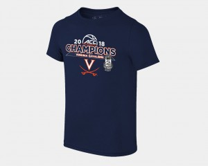 Virginia Cavaliers Youth Basketball Conference Tournament 2018 ACC Champions Locker Room T-Shirt - Navy