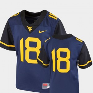 #18 West Virginia Mountaineers Team Replica College Football Youth Jersey - Navy
