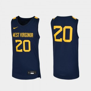 #20 West Virginia Mountaineers Youth Replica Basketball Jersey - Navy